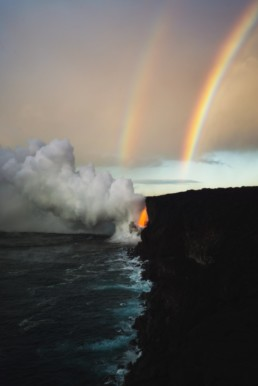 Photography of double Rainbows at a lava spout in Hawaii volcanoes national park