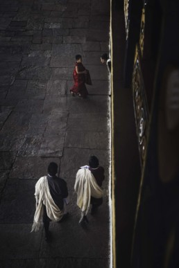 Photography of Monks in Paro Dzong temple in Paro, Bhutan