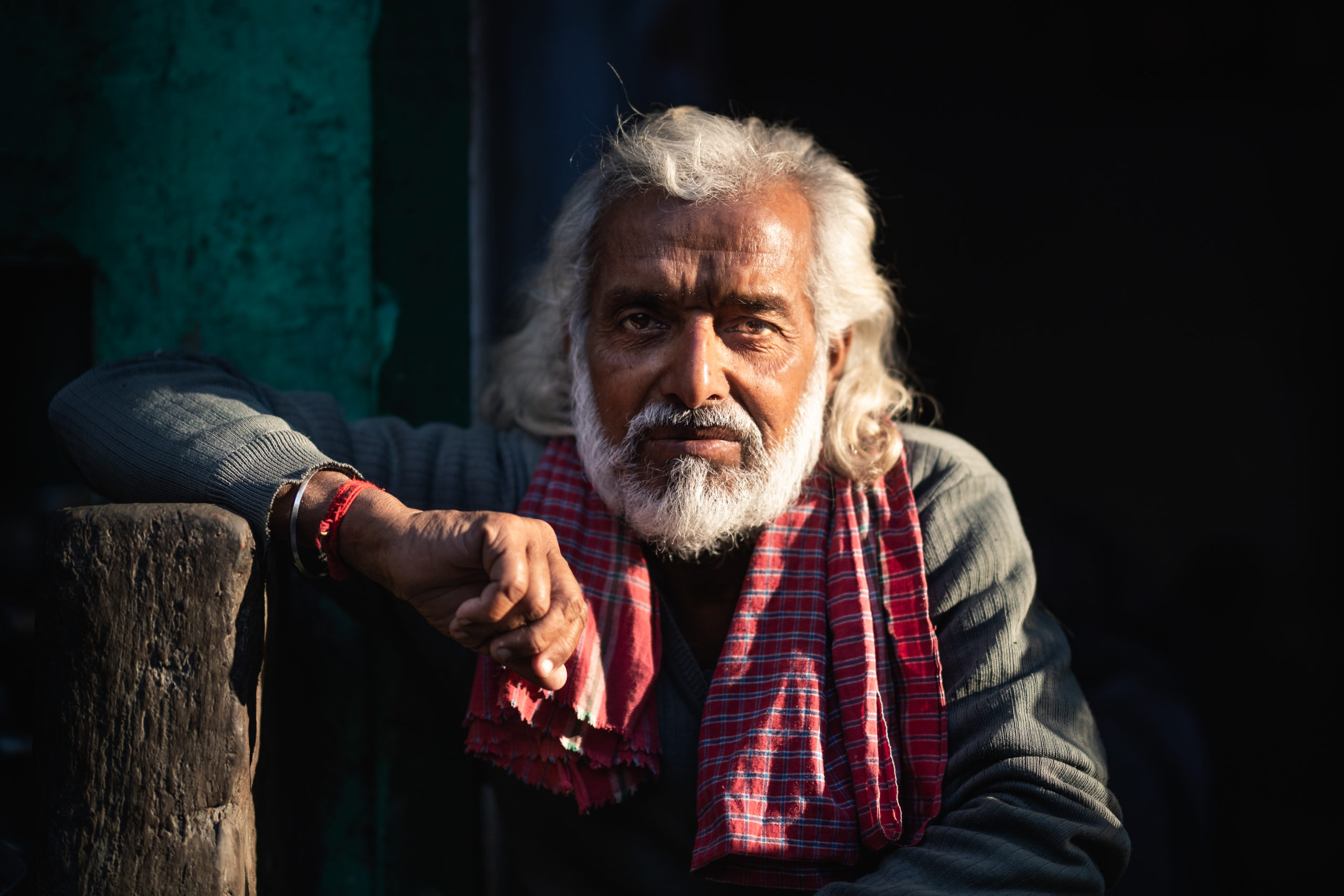 Street Photography of an elderly man during sunset in Mathura, India