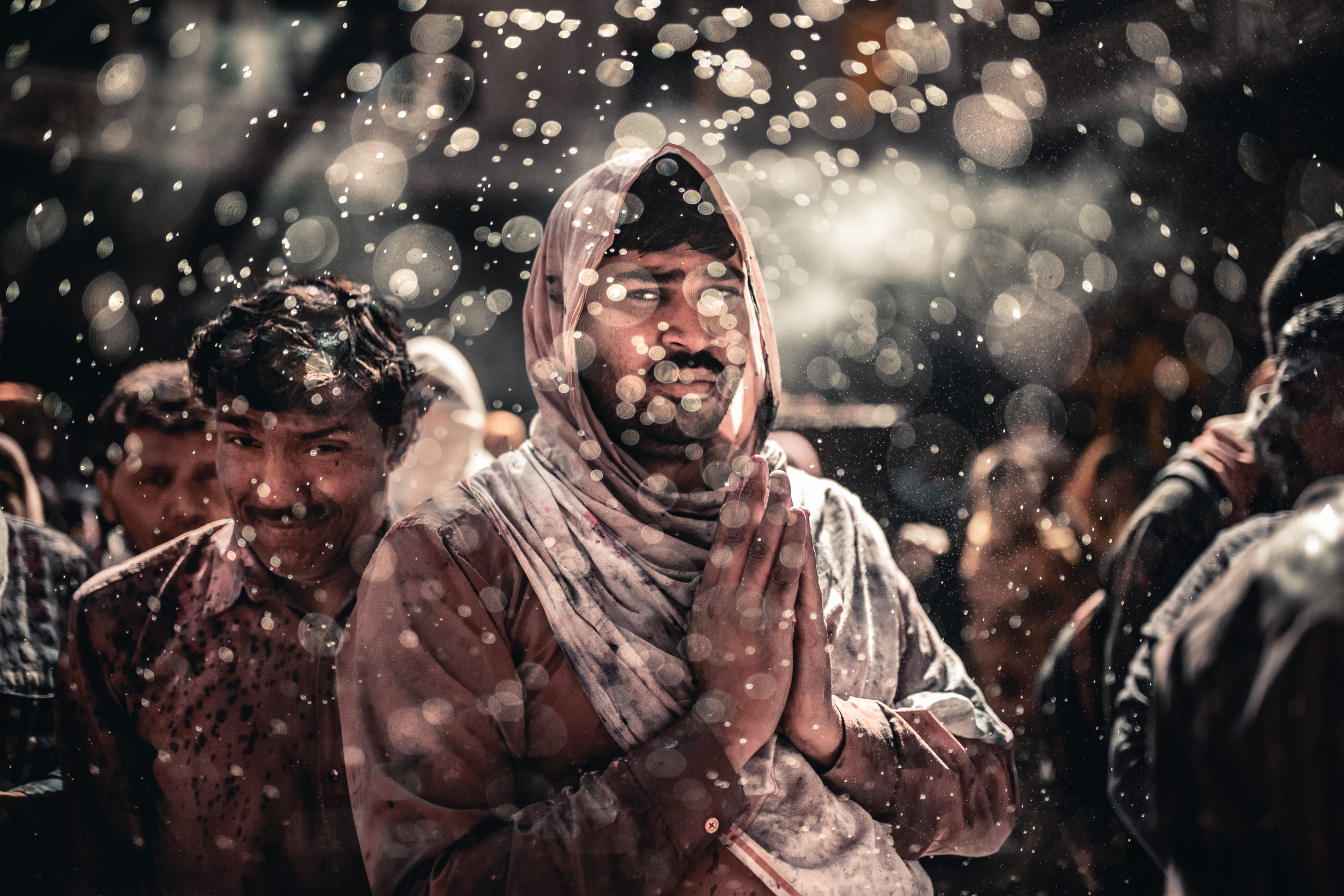 Portrait photography of a man celebrating the Holi Festival of Colors in Vrindivan, India